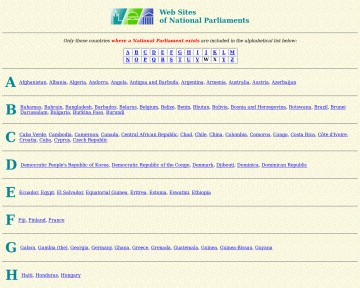 Web Sites of National Parliaments