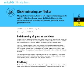 Diskriminering av flickor - UNICEF