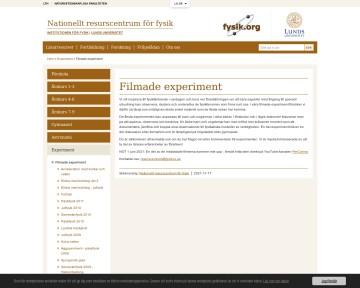 Filmade experiment - Nationellt resurscentrum för fysik