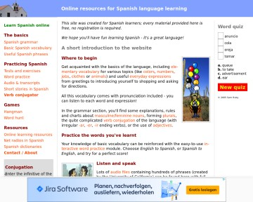 Online resources for Spanish language learning