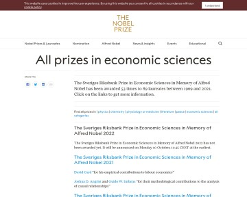All Nobel Prizes in Economic Sciences