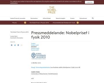Nobelpriset i fysik 2010
