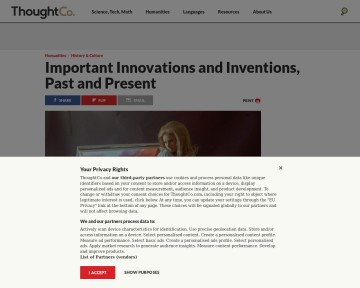 Important Innovations and Inventions, Past and Present